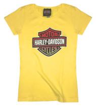 Harley-Davidson Girls' Glittery Spark Emotions Short Sleeve Crew Tee 5Q04-HB7G - Wisconsin Harley-Davidson