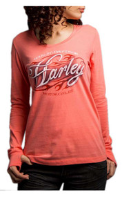 Harley-Davidson Women's Fast Freak Long Sleeve Scoop Neck Shirt, Pink 5Q27-HD04 - Wisconsin Harley-Davidson