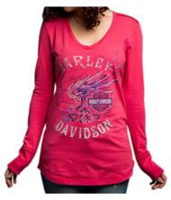 Harley-Davidson Women's Loud Skull Wings Long Sleeve V-Neck Shirt 5V37-HD0C - Wisconsin Harley-Davidson
