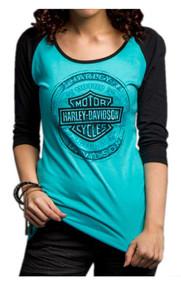 Harley-Davidson Women's Handcrafted Badass 3/4 Sleeve Raglan Shirt 5U33-HC9Z - Wisconsin Harley-Davidson