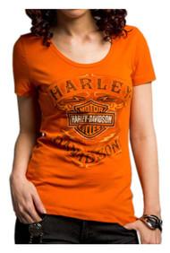 Harley-Davidson Women's Never Be Neglected Short Sleeve Tee, Orange 5E34-HC9V - Wisconsin Harley-Davidson