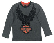 Harley-Davidson Little Boys' Eagle Thermal Long Sleeve Shirt, Dark Gray 1083529 - Wisconsin Harley-Davidson