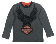 Harley-Davidson Little Boys' Eagle Thermal Long Sleeve Shirt, Dark Gray 1083529 - Wisconsin Harley-Davidson