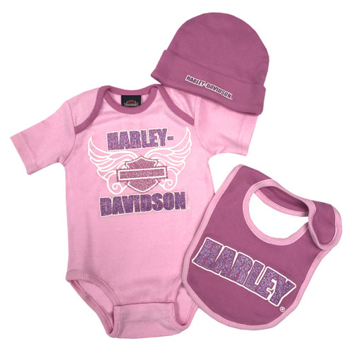 Harley-Davidson Baby Girls' Glittery 3 Piece Creeper Gift Box Set, Pink 2503547 - Wisconsin Harley-Davidson