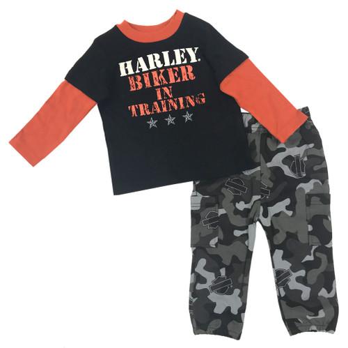 Harley-Davidson Baby Boys' Boot Camp 2-Piece Printed Interlock Pant Set 2053513 - Wisconsin Harley-Davidson