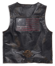 Harley-Davidson Men's Iron Distressed Slim Fit Leather Vest, Black 98009-18VM - Wisconsin Harley-Davidson