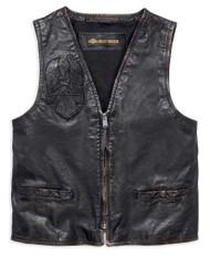 Harley-Davidson Men's Iron Distressed Slim Fit Leather Vest, Black 98009-18VM - Wisconsin Harley-Davidson