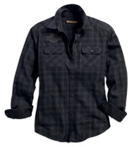 Harley-Davidson Women's Applique Plaid Flannel Relaxed Fit Shirt 99035-18VW - Wisconsin Harley-Davidson
