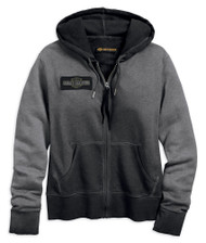 Harley-Davidson Women's Embroidered Eagle Zippered Hoodie, Black 99032-18VW - Wisconsin Harley-Davidson