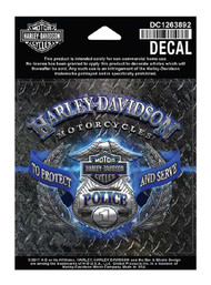 Harley-Davidson Police Original Decal, SM 4 x 4 inch, Blue & Silver DC1263892 - Wisconsin Harley-Davidson