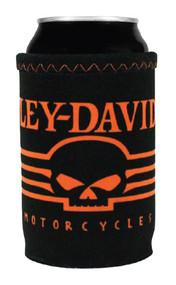 Harley-Davidson Linear Skull Neoprene Can Wrap, Black & Orange CW02764 - Wisconsin Harley-Davidson