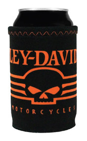 Harley-Davidson Linear Skull Neoprene Can Wrap, Black & Orange CW02764 - Wisconsin Harley-Davidson