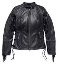 Harley-Davidson Women's Boone Fringed Leather Jacket, Black 98013-18VW - Wisconsin Harley-Davidson