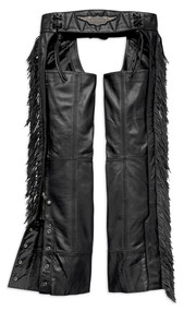 Harley-Davidson Women's Boone Fringed Legs Leather Chaps, Black 98012-18VW - Wisconsin Harley-Davidson