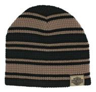 Harley-Davidson Men's Striped H-D Embroidered Knit Beanie Hat Black, Tan KN24203 - Wisconsin Harley-Davidson