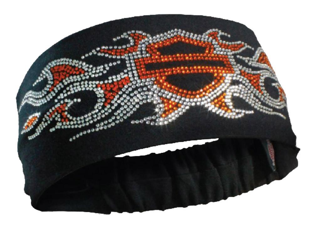 Harley-Davidson Women s Studded Bar   Shield Flames Headband Scrunchie 9389493dfd1