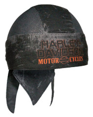 Harley-Davidson Mens Charcoal Sublimated H-D Head Wrap, Distressed Black HW51681 - Wisconsin Harley-Davidson