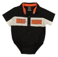 Harley-Davidson Baby Boys' Short Sleeve Woven Shop Shirt Newborn Creeper 3050783 - Wisconsin Harley-Davidson