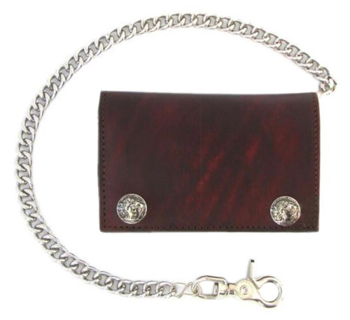 Biker Mens 6 in Buffalo Nickel Snap Antique Genuine Leather Chain Wallet US Made - Wisconsin Harley-Davidson