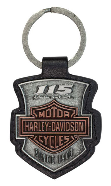 Harley-Davidson 115th Anniversary 2D Die Struck Keychain, Antique Finish KY26023 - Wisconsin Harley-Davidson