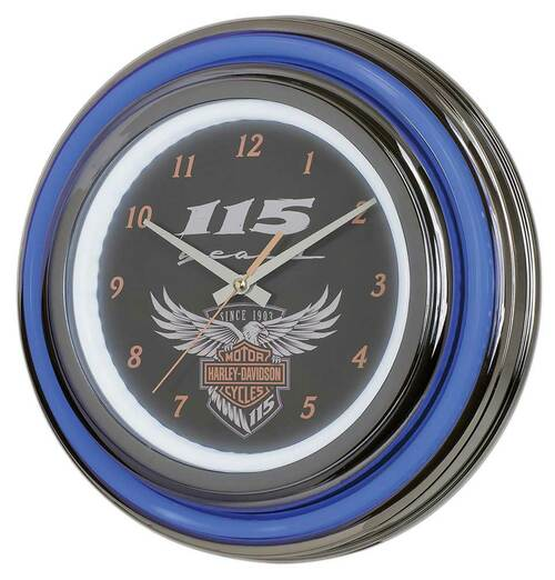 Harley-Davidson 115th Anniversary Neon Clock LED Limited Edition HDL-16637 - Wisconsin Harley-Davidson