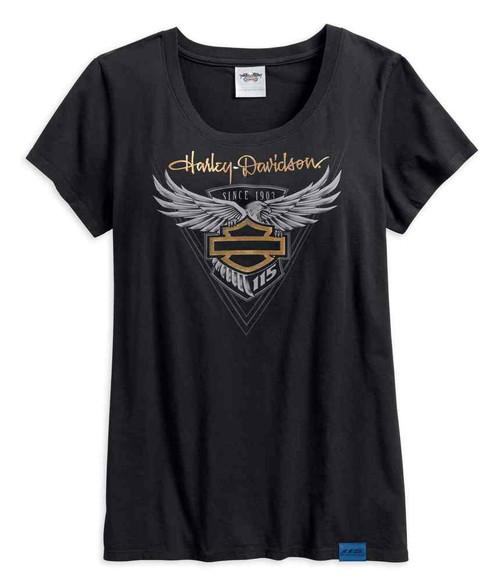 Harley-Davidson Womens 115th Anniversary Limited Edition Metallic Tee 99041-18VW - Wisconsin Harley-Davidson