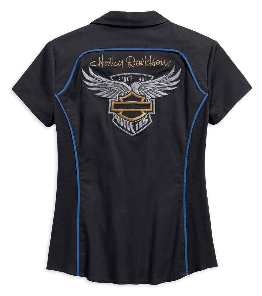 Harley Davidson Womens 115th Anniversary Short Sleeve Zip Front
