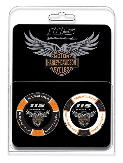 Harley-Davidson 115th Anniversary Collector 2pc Poker Chips Limited Edition 678D - Wisconsin Harley-Davidson