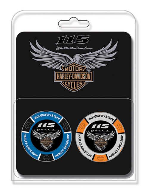 Harley-Davidson 115th Anniversary Collector's Poker Chip Pack, Blue & Gray 671 - Wisconsin Harley-Davidson