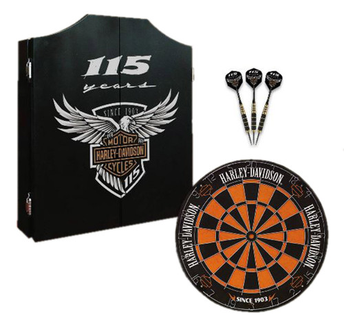 Harley-Davidson 115th Anniversary Dart Board Kit Limited Edition, Black 69115 - Wisconsin Harley-Davidson