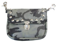Mascorro Women's Studded Leather Camouflage Print Clip Hip Pouch, Gray GCF62 - Wisconsin Harley-Davidson