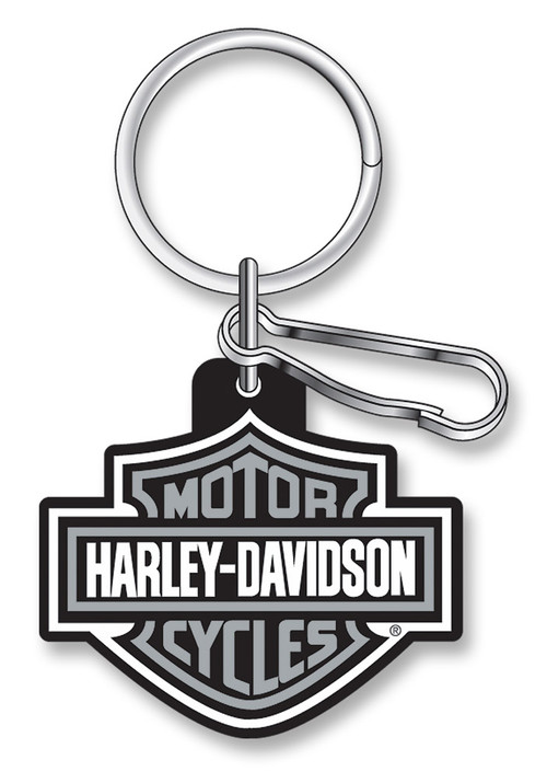Harley-Davidson Classic Bar & Shield Key Chain with Key Ring & Clip, Gray 4496 - Wisconsin Harley-Davidson