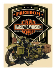 Harley-Davidson Freedom Green Military Embossed Tin Sign, 13 x 17 inches 2011351 - Wisconsin Harley-Davidson