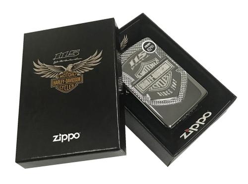 Harley-Davidson 115th Anniversary Armor Zippo Lighter, Polish Chrome 29557 - Wisconsin Harley-Davidson