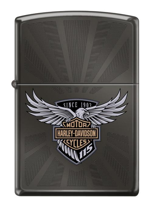 Harley-Davidson 115th Anniversary Black Ice Engraved Zippo Lighter, Black 29556 - Wisconsin Harley-Davidson
