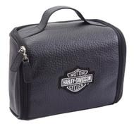 Harley-Davidson Top Grain Leather Bar & Shield Black Toiletry Kit 99508 BLK - Wisconsin Harley-Davidson