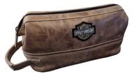Harley-Davidson Deluxe Bar & Shield Leather Toiletry Kit, Palomino 99609-PAL - Wisconsin Harley-Davidson
