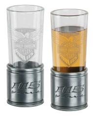 Harley-Davidson 115th Anniversary Metal Shooter Shot Glass Set, 2 oz. HDX-98704 - Wisconsin Harley-Davidson