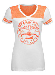 Harley-Davidson Womens Screamin' Eagle Varsity V-Neck Tee, White HARLLT0210 - Wisconsin Harley-Davidson