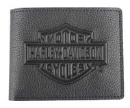Harley-Davidson Men's Embossed B&S Logo Leather Billfold Wallet XML3554-BLACK - Wisconsin Harley-Davidson
