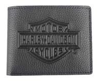 Harley-Davidson Men's Embossed B&S Logo Leather Billfold Wallet XML3554-BLACK - Wisconsin Harley-Davidson