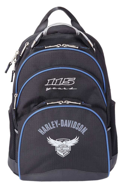 """Harley-Davidson 115th Anniversary Collection """"Steel-Cable"""" Backpack, Black 99220 - Wisconsin Harley-Davidson"""