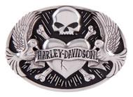 Harley-Davidson Women's Sculpted Tattoo Belt Buckle, Antique Silver HDWBU11408 - Wisconsin Harley-Davidson