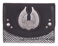 Harley-Davidson Women's Wing Disco Genuine Leather RFID Wallet HDWWA11347-BLK - Wisconsin Harley-Davidson