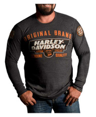 Harley-Davidson Men's Lets Ride Premium Long Sleeve Shirt, Charcoal Heather - Wisconsin Harley-Davidson