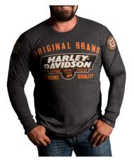 Harley-Davidson Men's Lets Ride Premium Long Sleeve Shirt, Charcoal Heather - Wisconsin Harley-Davidson