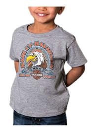 Harley-Davidson Little Boys' Attitude Eagle Short Sleeve Toddler T-Shirt, Gray - Wisconsin Harley-Davidson