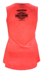Harley-Davidson Women's Ink Embellished Burnout Sleeveless Tank Top, Coral - Wisconsin Harley-Davidson