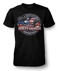 Harley-Davidson Men's American Rebel Crew Neck Short Sleeve T-Shirt, Black - Wisconsin Harley-Davidson