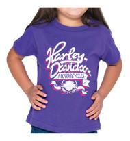 Harley-Davidson Little Girls' Ribbon H-D Short Sleeve Toddler Tee, Purple - Wisconsin Harley-Davidson